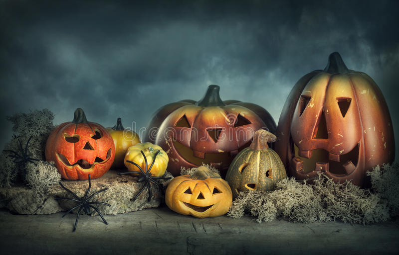 Download Halloween pumpkins stock image. Image of evening, mist - 26634131