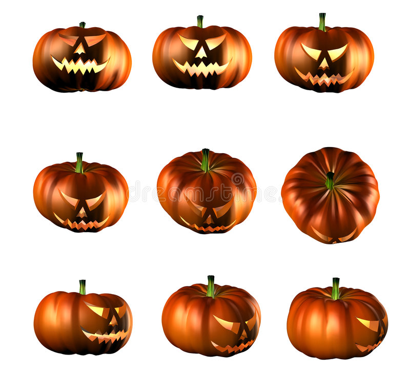 Halloween pumpkins stock illustration
