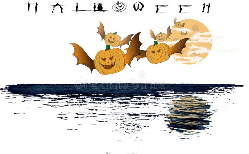 Halloween. The pumpkins arrive in flight for the traditional party royalty free illustration