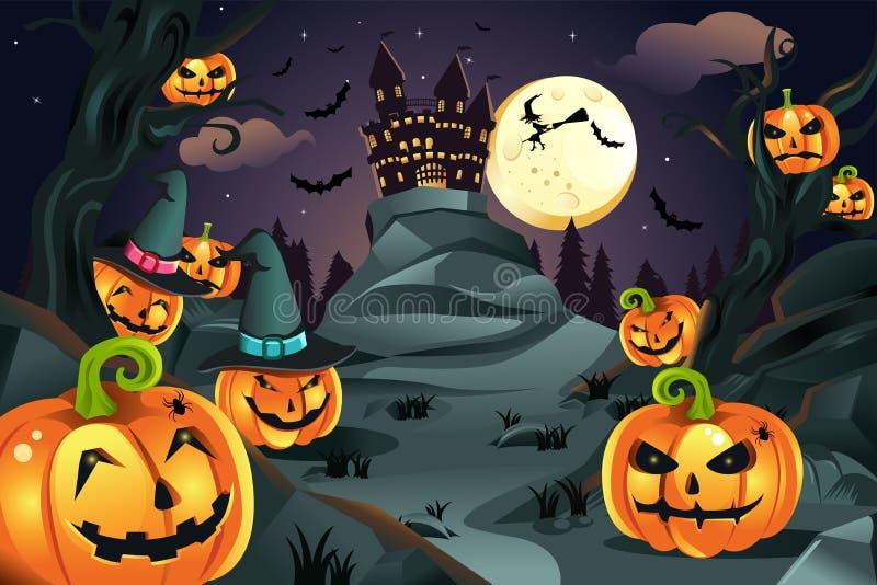 Halloween pumpkins background stock illustration