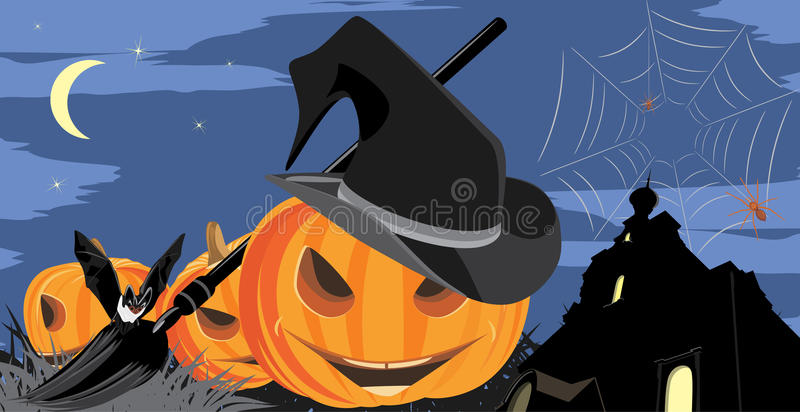 Halloween pumpkins on the background of castle stock photography