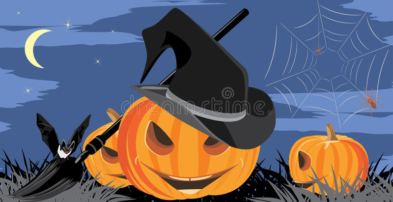 Halloween pumpkins, bat and spiders. Banner royalty free stock photography