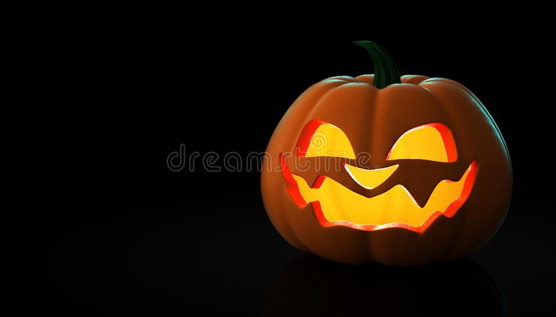 Halloween Pumpkins on a black background CGI 3D. Scary angry spooky royalty free illustration