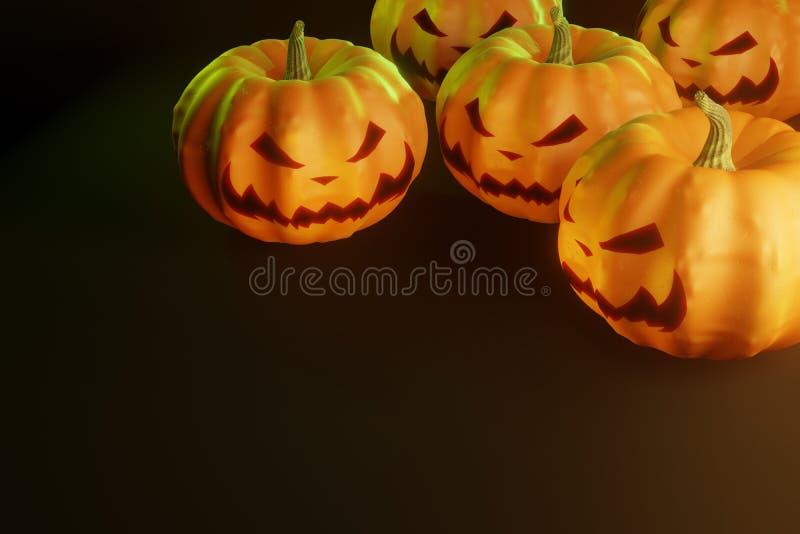 Halloween pumpkins on black background stock photography