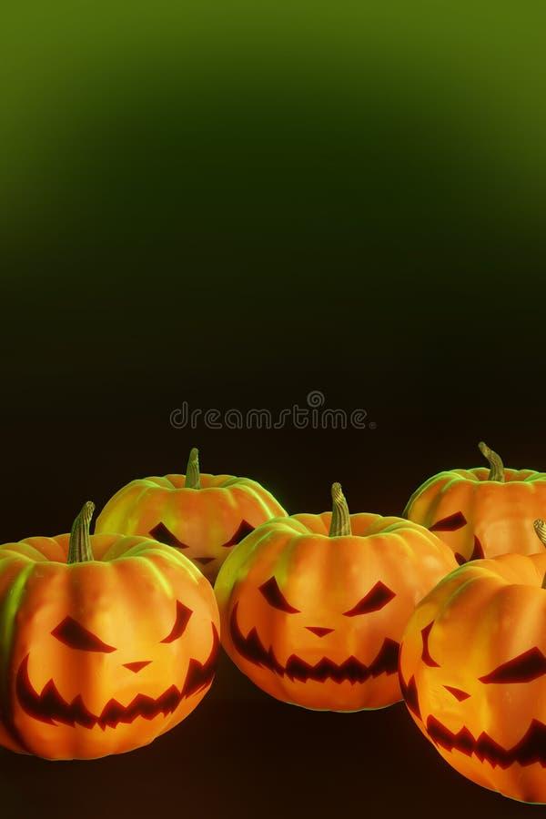 Halloween pumpkins on black background royalty free stock image