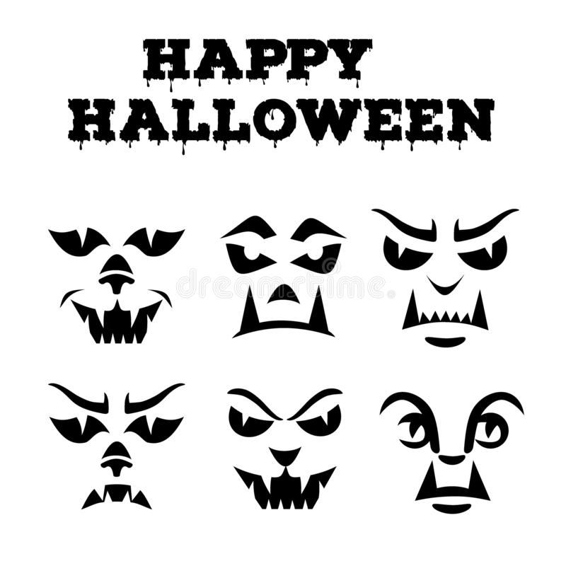 Halloween carved faces silhouettes. Template for cut out jack o lantern. Funny werewolfs stencil set. Monster icons. Halloween pumpkins carved faces silhouettes vector illustration