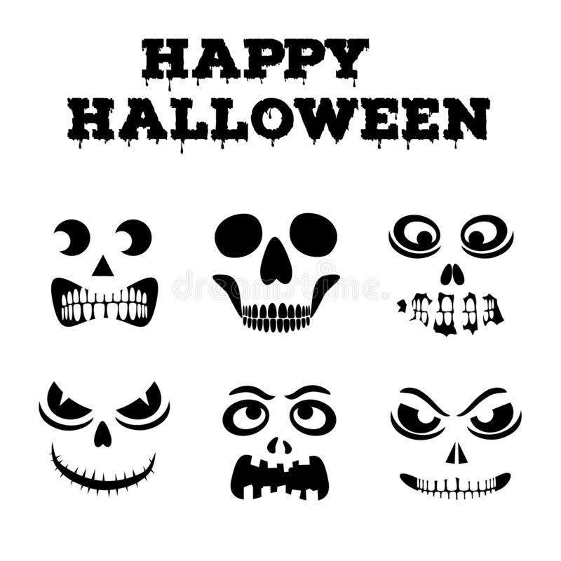 Halloween pumpkins carved faces. Template for cut out jack o lantern. Funny zombie and skeleton monsters stencils royalty free illustration