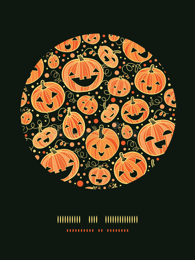 Halloween Pumpkins Circle Decor Pattern Background Stock Photos