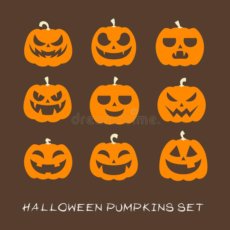 Halloween Pumpkins Collection Set. Eps 10 vector illustration