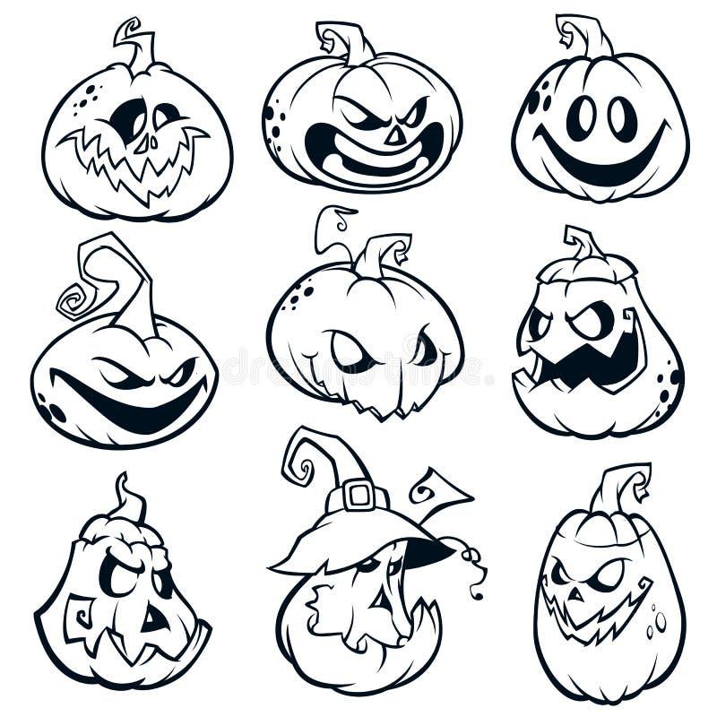 Halloween Pumpkins curved with jack o lantern face. Vector cartoon illustration vector illustration