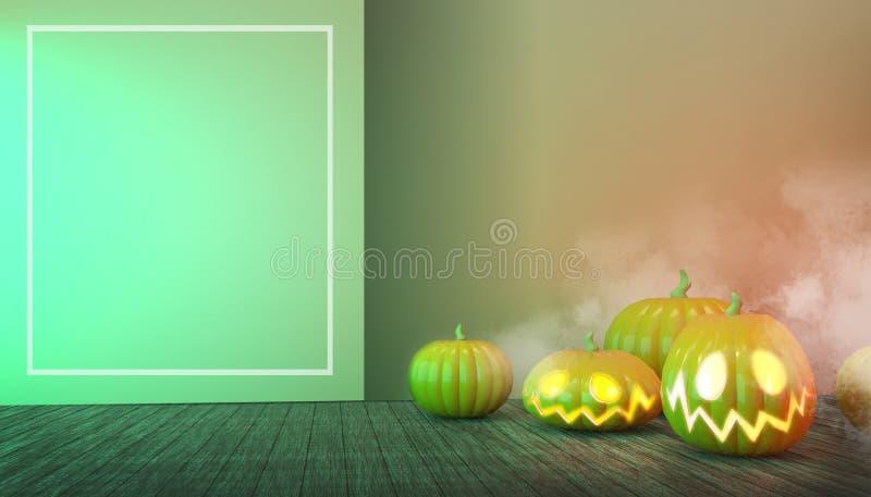 Halloween Pumpkins e Floor Wood em Spooky No Noite Conceito Cartões Modernos de Convite em Fundo Verde Pastel ilustração stock