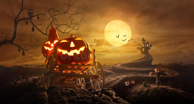 Halloween pumpkins on farm wagon going through Stretched road gr stock photo