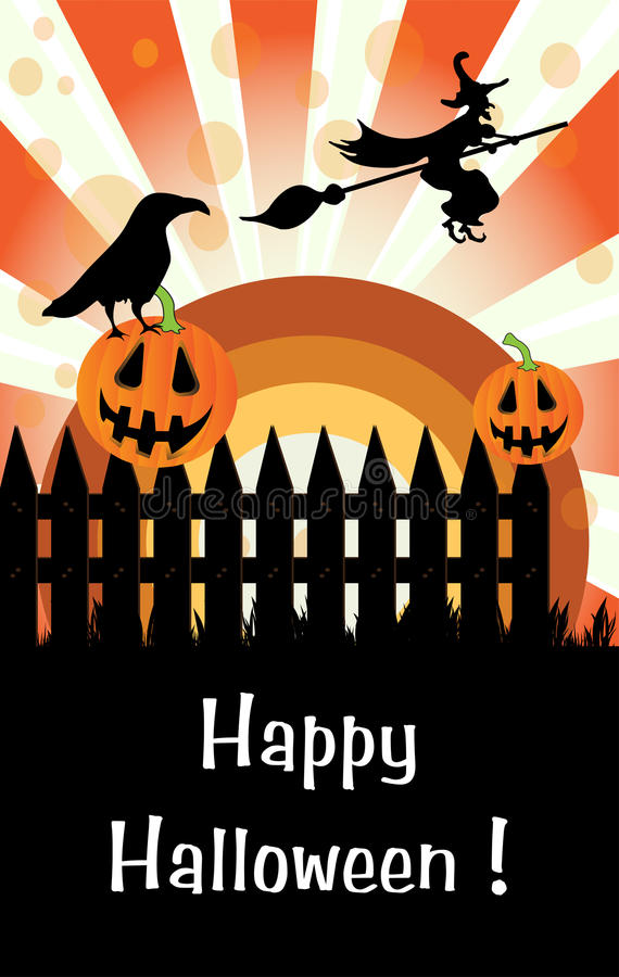 Download Halloween Pumpkins On A Fence Stock Vector - Image: 21420193