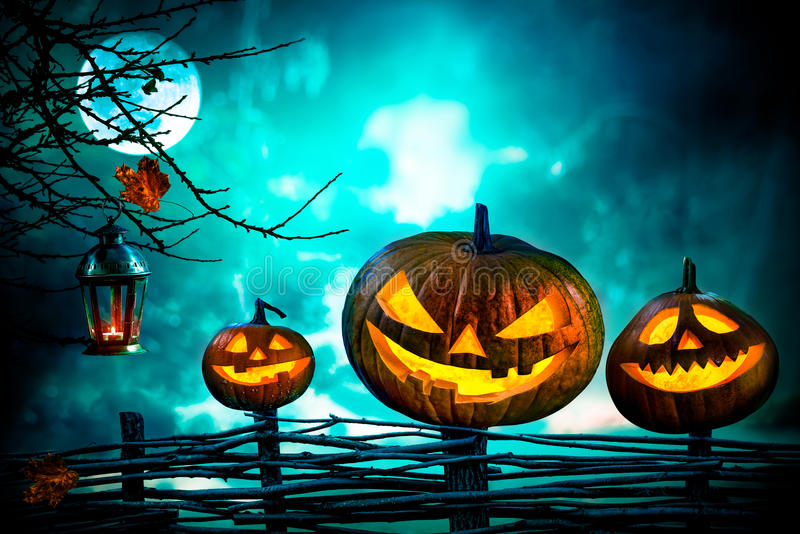Halloween pumpkins in front of nightly spooky forest. Background royalty free stock photography
