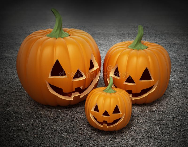 Halloween pumpkins with funny smiling faces. 3D illustration stock illustration