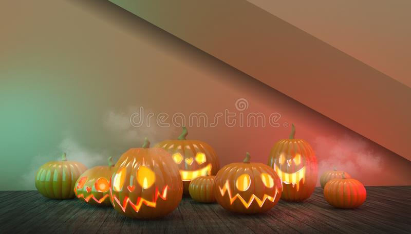 Halloween Pumpkins Group e Floating Wood a Spoky di notte su sfondo rosso royalty illustrazione gratis