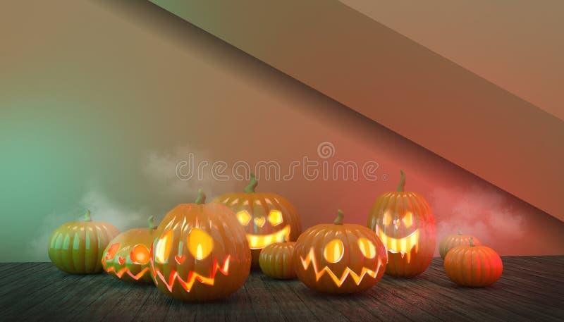 Halloween Pumpkins Group e Floor Wood em Spooky at Night em Red Background ilustração royalty free