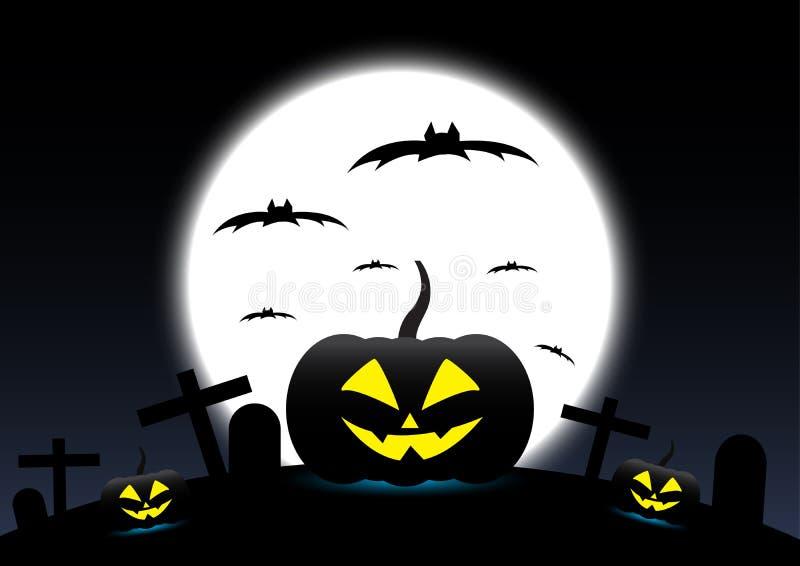 Halloween pumpkins. On Moon background, vector stock illustration