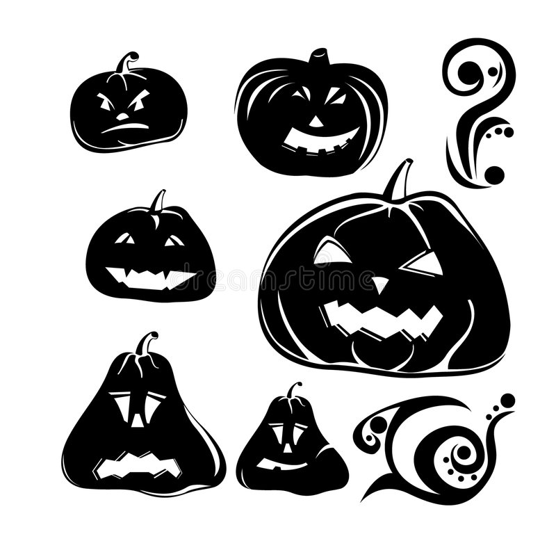 Halloween pumpkins icons set in black stock image