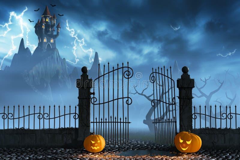 Halloween pumpkins next to a gate of a spooky castle. Jack O'Lanterns guarding an open gate leading to a spooky castle high up in the mountains royalty free illustration