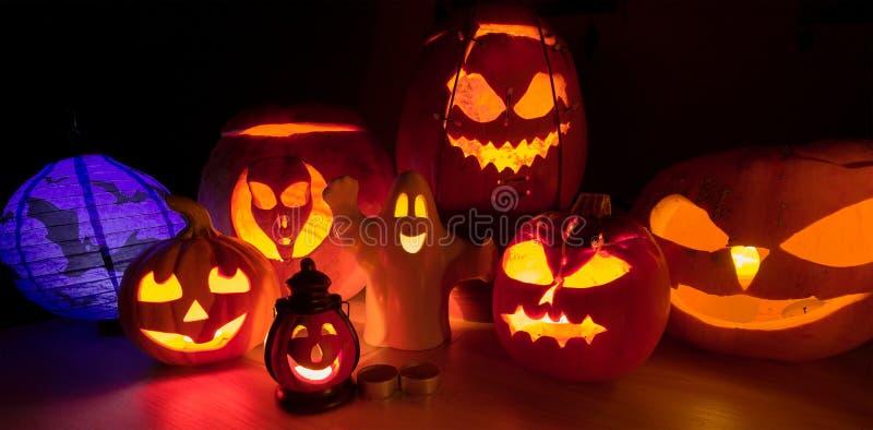 Halloween pumpkins. In the night stock image