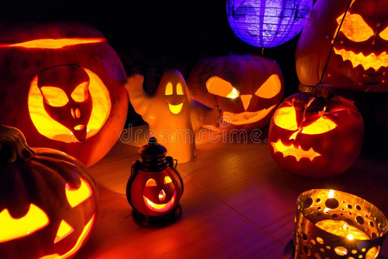 Halloween pumpkins at night dark scenery. Halloween pumpkins at night dark scary scenery royalty free stock photography