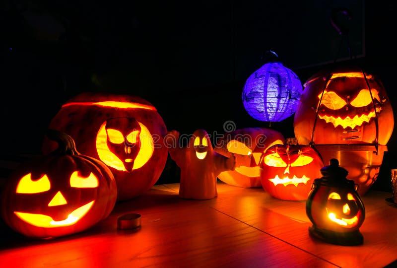Halloween pumpkins at night dark scenery. Halloween pumpkins at night dark scary scenery royalty free stock photos