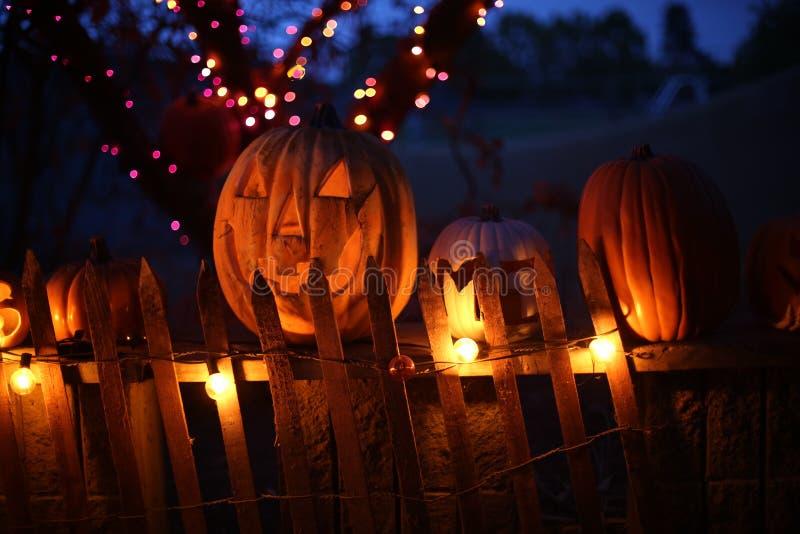 Halloween pumpkins at night. Trick or treat. Halloween pumpkins on a fence at night with lights royalty free stock photo