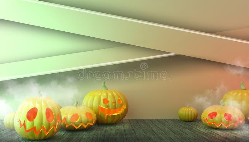 Halloween Pumpkins och Floor Wood in Spooky at Night Concept Modern Inbjudningskort Art on pastel Green Background vektor illustrationer