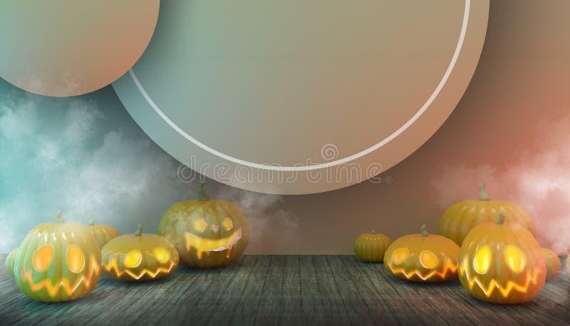 Halloween Pumpkins och Floor Wood in Spooky at Night Concept Modern med död konst på Orange pastel Background vektor illustrationer