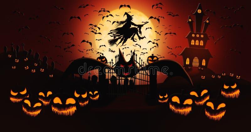 Halloween Pumpkins op de begraafplaats met vliegende vleermuizen en heks Riding the Broom Against Full Moon Sky with Haunted Mans stock illustratie