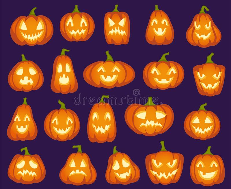 Halloween pumpkins. Orange pumpkin characters. Spooky, happy and sad, angry funny faces for halloween holiday. Cartoon royalty free illustration