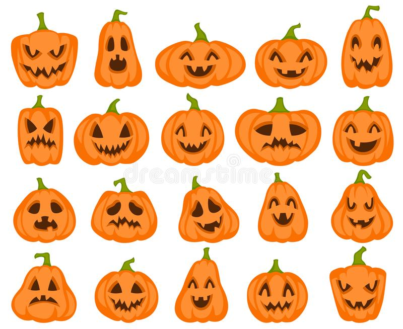 Halloween pumpkins. Orange pumpkin with jack lantern characters. Spooky and angry carved faces for autumn holiday royalty free illustration