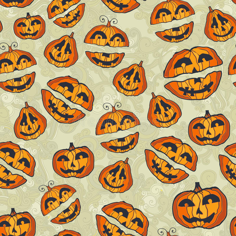 Halloween pumpkins pattern. Cute seamless