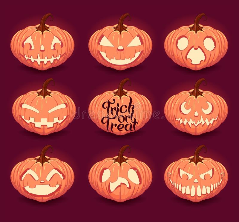 Halloween pumpkins set royalty free illustration