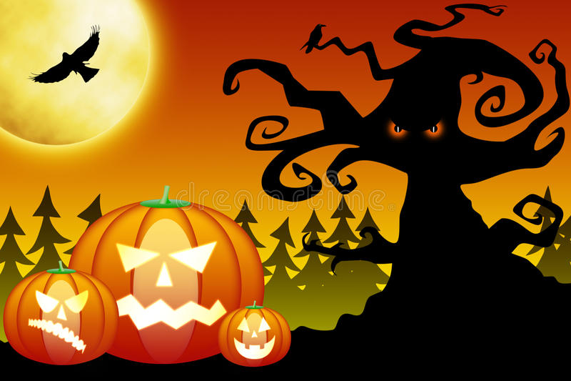 Download Halloween Pumpkins In Scary Forest Stock Illustration - Image: 21290085