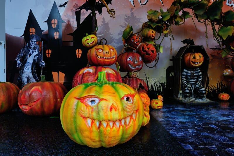Halloween pumpkins scene background royalty free stock photography
