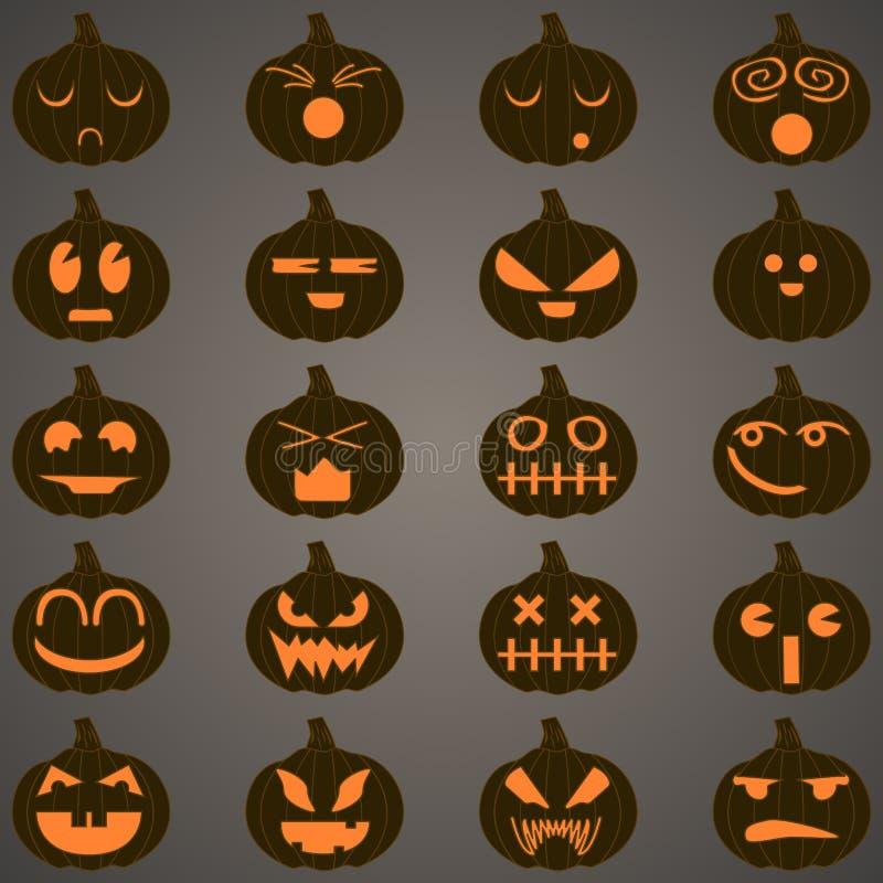 Halloween pumpkins set 20 icons stock images