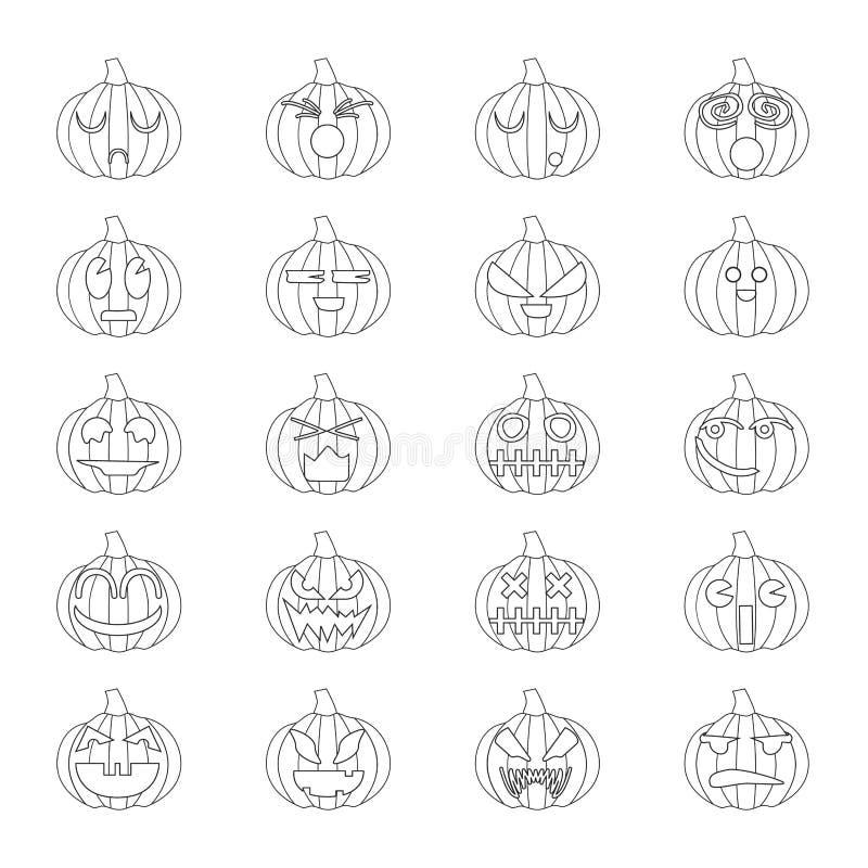 Halloween pumpkins set 20 icons stock photo
