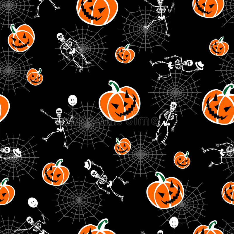 Halloween pumpkins and skeleton background stock illustration
