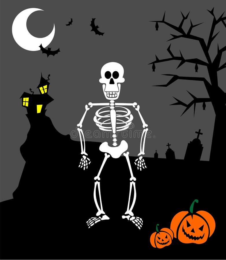 Halloween pumpkins and skeleton. Scary background stock illustration
