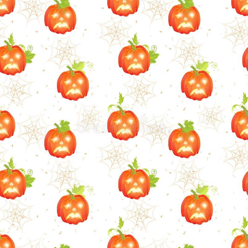 Halloween pumpkins with spider webs seamless vector print. Sad Halloween pumpkins on the dotted backdrop with spider webs seamless vector print stock illustration