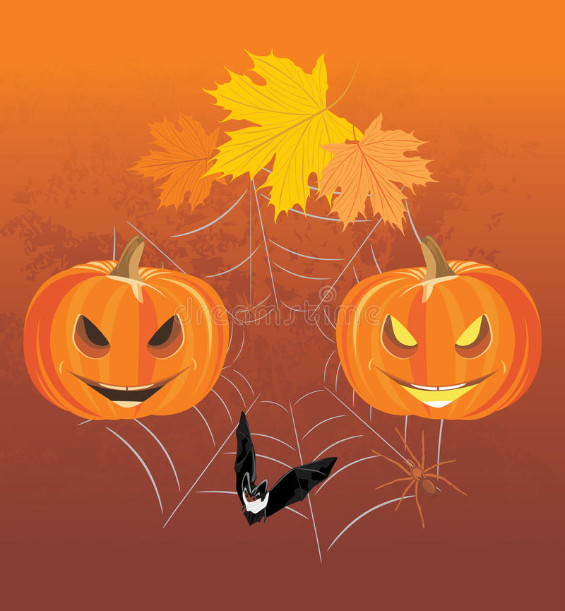 Halloween pumpkins, spiders and bat. Holiday composition royalty free stock image