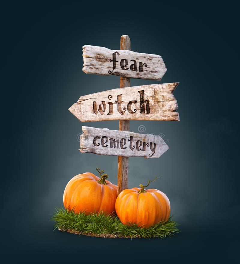 Halloween pumpkins under old wooden pointer. Unusual 3d illustration. Halloween concept.  vector illustration