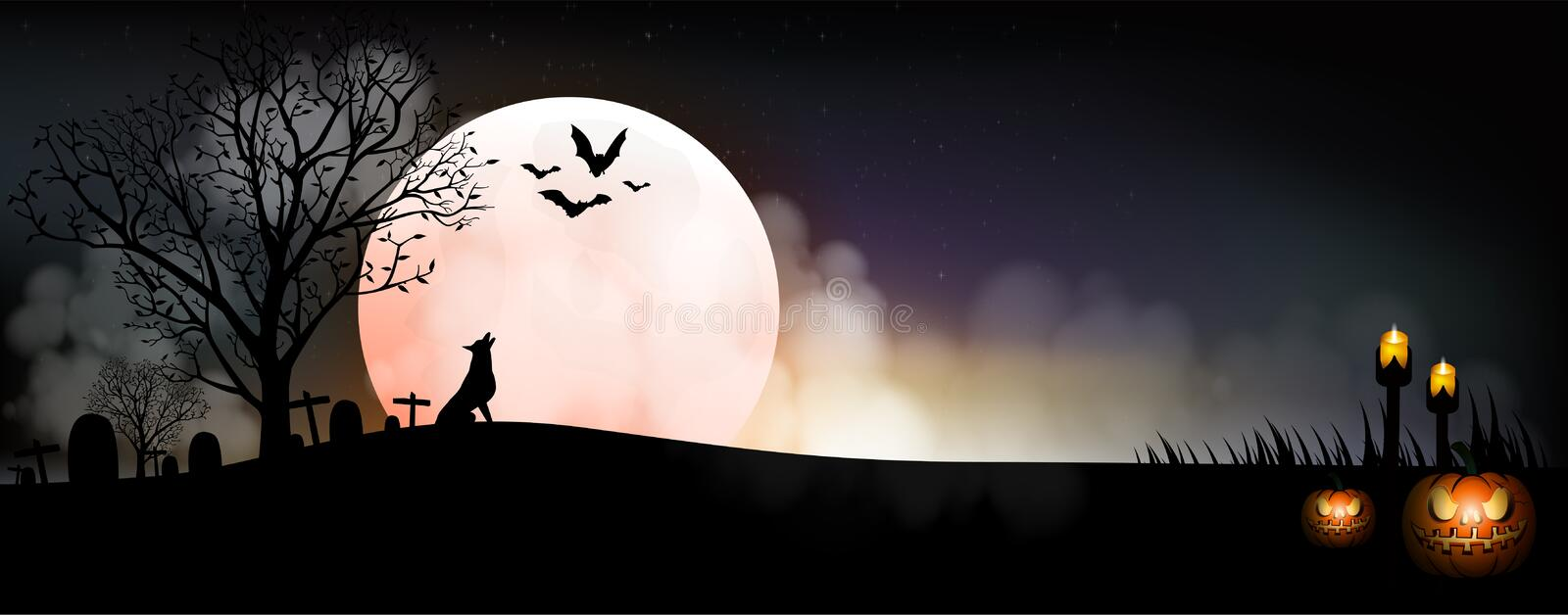 Halloween pumpkins and wolf on full Moon background stock illustration