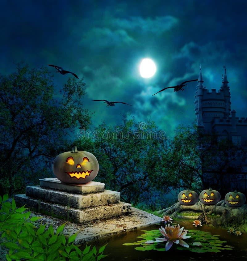Halloween pumpkins in yard of old house night in moonlight. Halloween pumpkins in yard of old house night in bright moonlight stock photos
