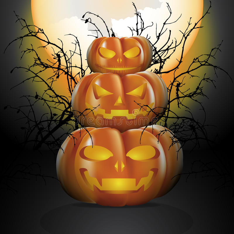 halloween pumpor tre royaltyfri illustrationer