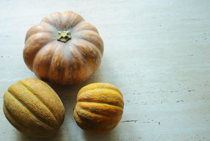 Halloween punpkin en meloenenachtergrond met exemplaarruimte selectieve nadruk en bokeh royalty-vrije stock fotografie
