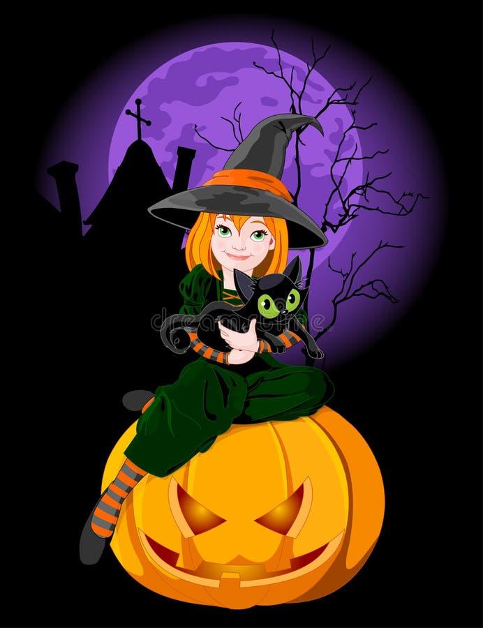 Halloween que sostiene el gato stock de ilustración