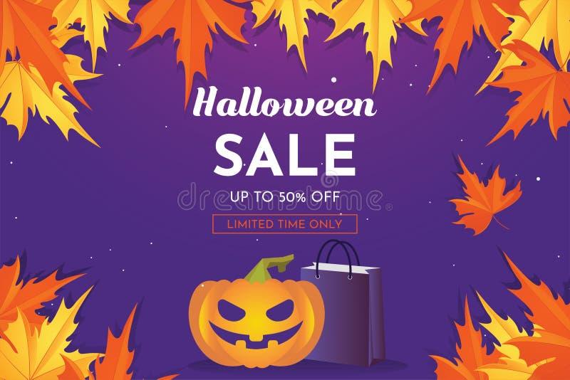 Halloween-Rabatt-Verkauf mit Kürbis in der Herbstsaison Mehr in meiner Galerie stock abbildung
